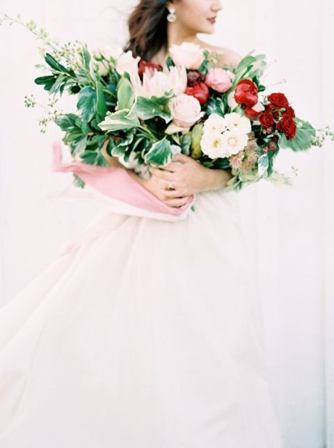 Blush and Red Bouquet with an Armful of Greenery