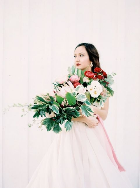 Dreamy Bride with an Armful of Blush and Red Flowers