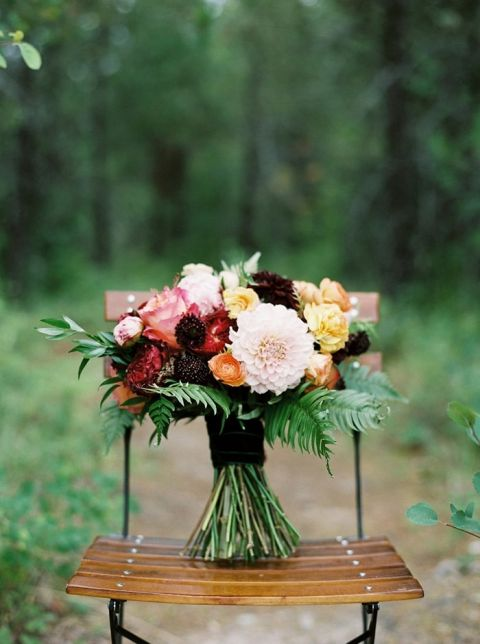 Colorful Summer Bouquet for a Woodland Wedding