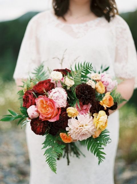 Bride with a Rustic and Colorful Bouquet