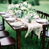 Mahogany Farm Table with Natural Linen and Organic Greenery