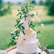 Ruffled Wedding Cake with Foraged Greenery and Flowers