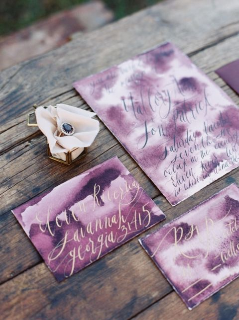 Amethyst and Gold Watercolor Wedding Invitations