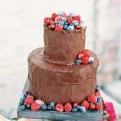 Chocolate Frosted Cake with Fresh Berries