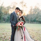 Bold Black Wedding Dress and Fall Flowers