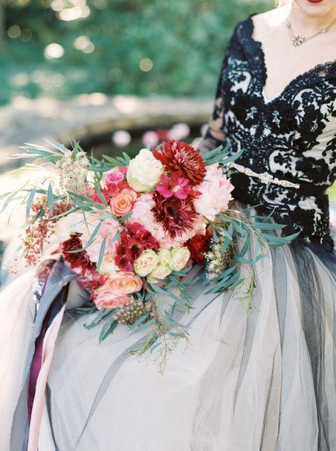 Bold Black Wedding Dress And Fall Flowers Hey Wedding Lady