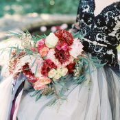 Merlot and Blush Fall Flowers with a Black Wedding Dress
