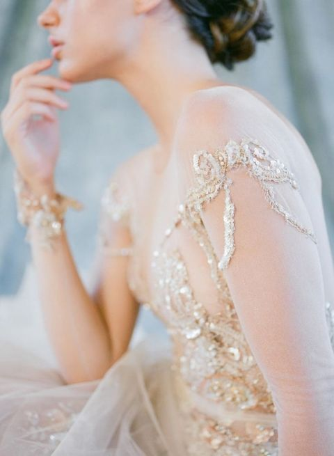 Ethereal Gold Fairy Tale Wedding Dress