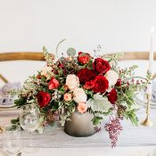 Red and Blush Centerpiece with Raw Silk Runner