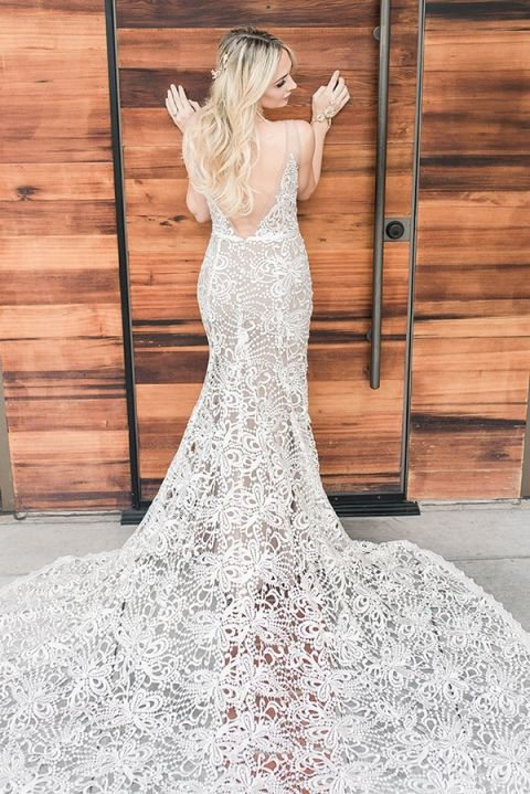 Nude Lace Wedding Dress with a Low Back and Long Train
