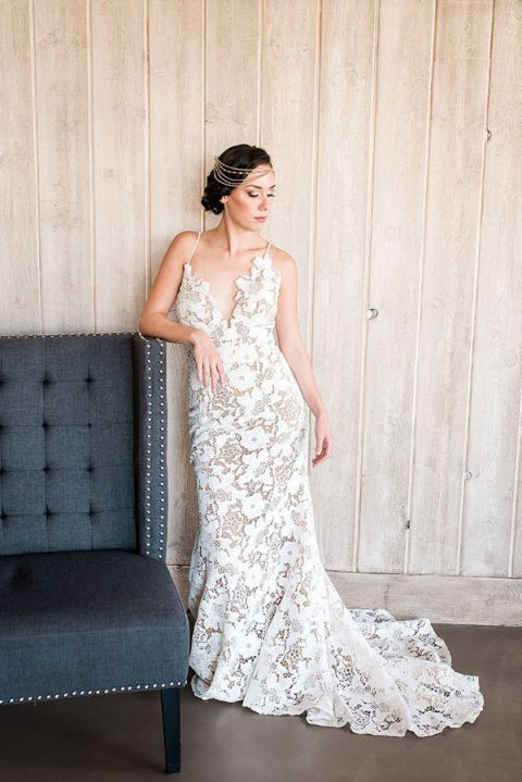 Illusion Lace Boho Wedding Dress