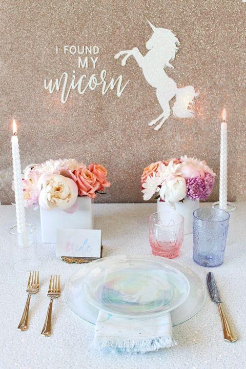 Pastel Rainbow Bridal Shower with a DIY Glitter Banner