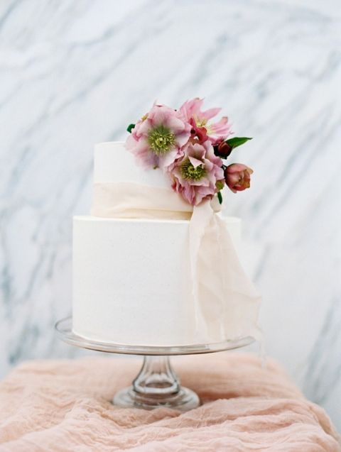 Elegant Buttercream Wedding Cake with a Floral Hellebore Topper