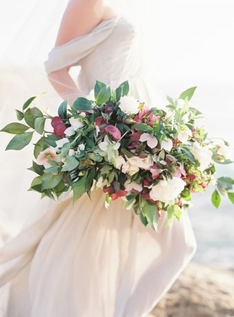 Organic Bridal Bouquet with Greenery and Hellebore