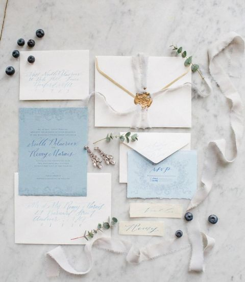 Pastel Blue and Antique Gold Wedding Invitations
