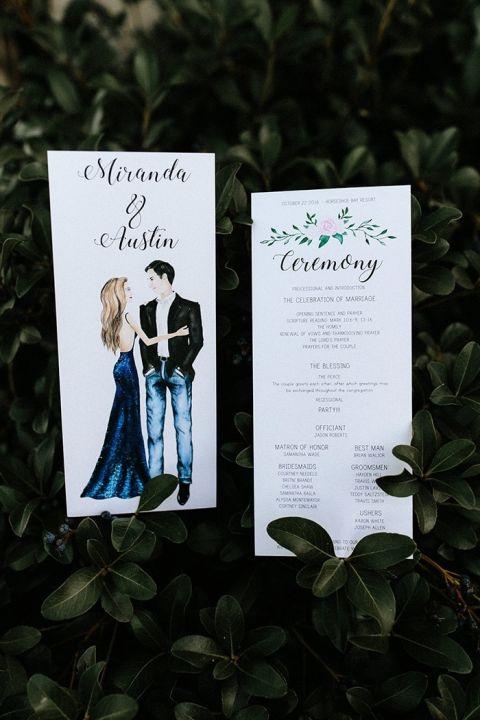 Illustrated Wedding Invitation and Program