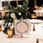 Olive Wreath Inspired Wedding Table Numbers