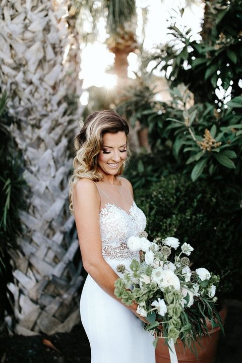 Illusion Lace Wedding Dress with a Greenery Bouquet