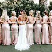 Mismatched Gold Sequin Bridesmaid Dresses