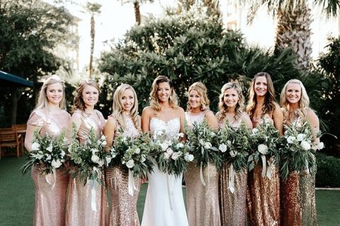 Bridesmaids in Gold Sequin Dresses with Greenery Bouquets