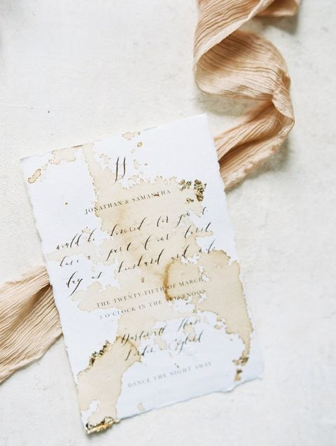 Hand Lettered Calligraphy Invitations with Peach Silk