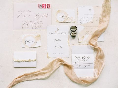 Peach and Gold Handmade Wedding Invitations