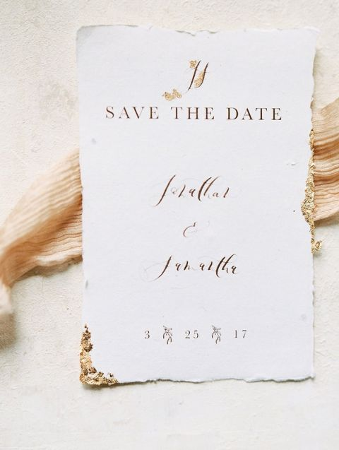 Gold Leaf Calligraphy Wedding Invitations