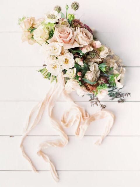 Silk Wedding Flowers 97 Simple Peach and Ivory Vintage