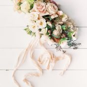 Peach and Ivory Vintage Garden Bouquet with Silk Ribbon