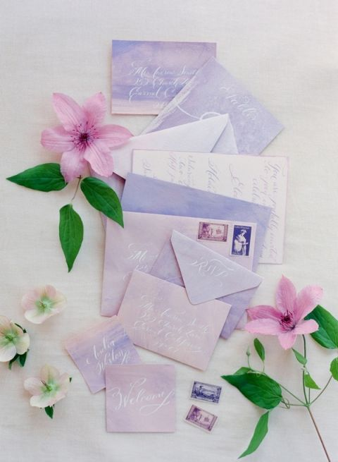 Calligraphy Blush and Lavender Stationery Suite