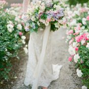 Romantic Magic Hour Garden Wedding Photos