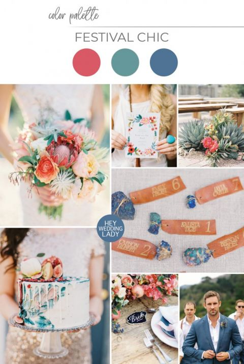 Coachella Inspired Festival Style for a Desert Wedding in Coral, Indigo, and Sage Green