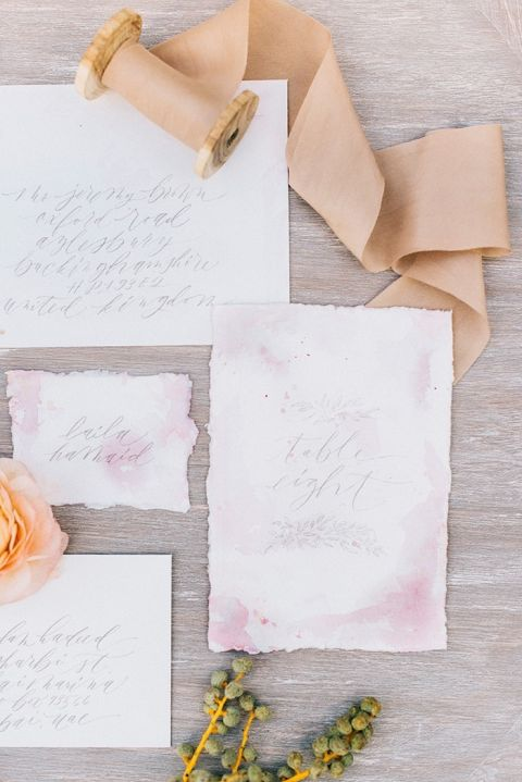 Hand Lettered Watercolor Invitations