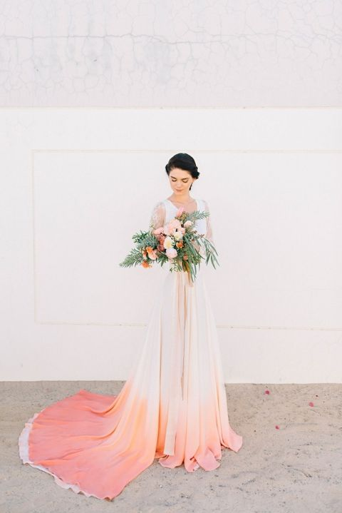 Dip Dye Wedding Ideas In Ombré Peach And Coral