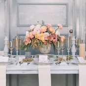 Pewter and Peach Wedding Inspiration with Vintage Decor