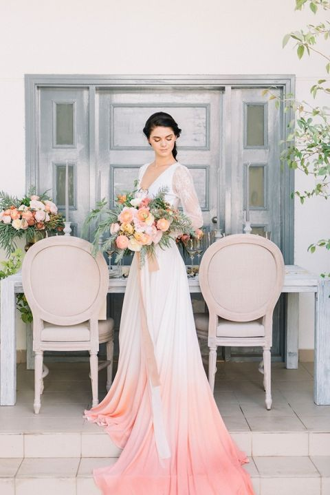 Dip Dye Wedding Ideas In Ombre Peach And Coral Hey Wedding Lady