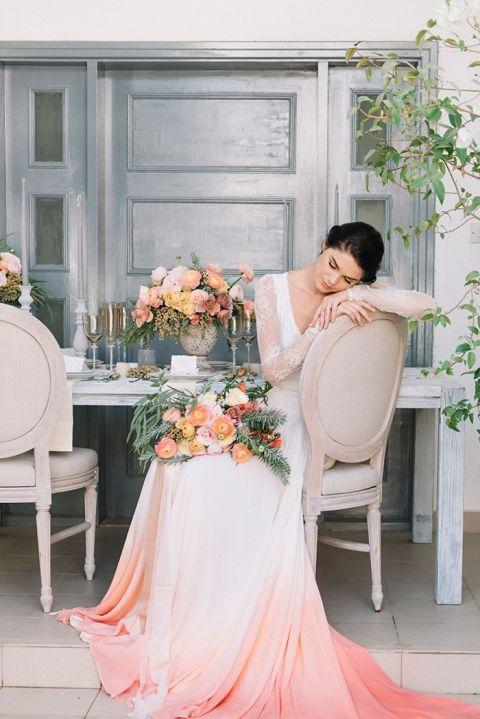 Coral Wedding Ideas 17 Simple Dip Dye Wedding Ideas