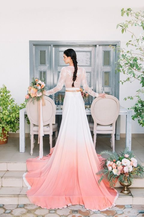 Dip Dye Wedding Ideas in Ombré Peach and Coral - Hey Wedding Lady