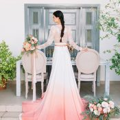 Ombre Wedding Dress with Coral Silk and Lace Sleeves