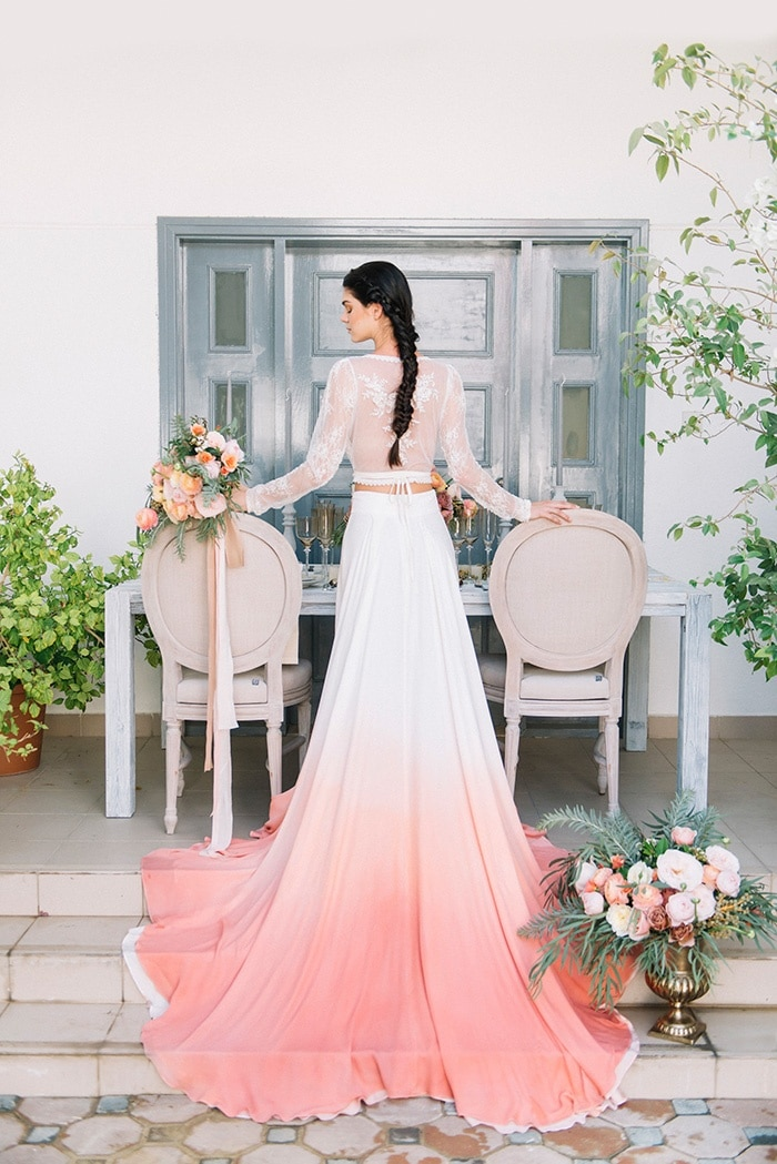 Dip dye wedding ideas in ombr peach and coral hey for Dressing up for a wedding