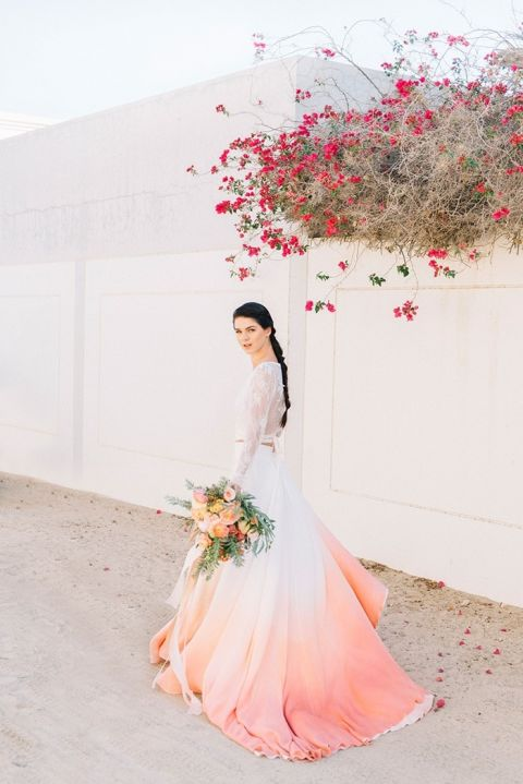 Dip Dye Wedding Ideas In Ombr 233 Peach And Coral Hey
