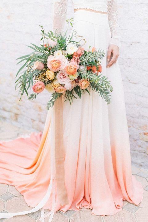 Coral Wedding Ideas 87 Luxury Dip Dye Wedding Ideas