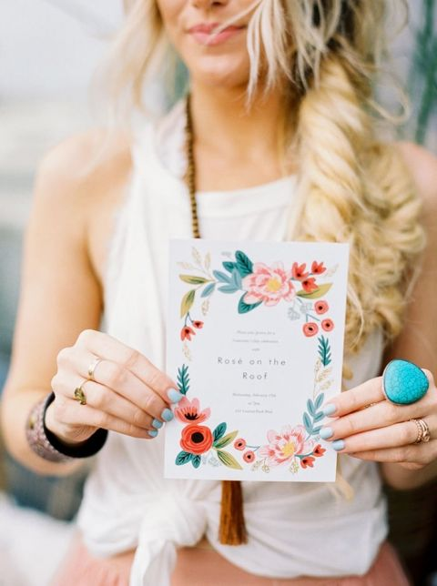 Coral and Turquoise Floral Print Invitation