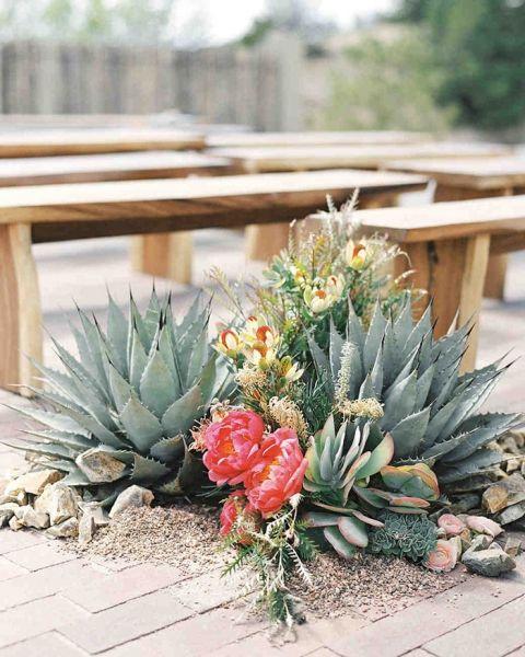 Peony and Succulent Desert Wedding Aisle Decor