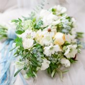 Fresh White and Yellow Bouquet with Blue Ribbons
