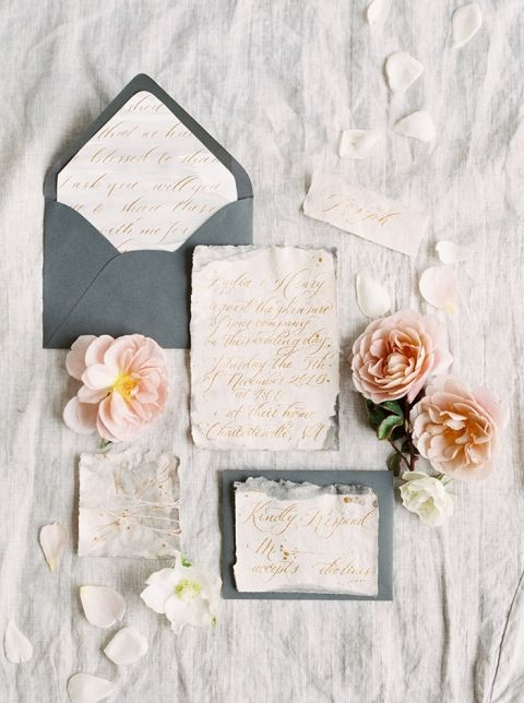 Slate Blue and Blush Wedding Invitations