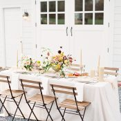 Rustic Barn Wedding Reception with Fall Foliage