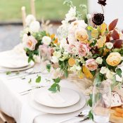 Organic Bohemian Wedding Decor with Fall Foliage