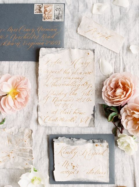 Romantic Gold Hand Lettered Invitations with Blush Rose Petals