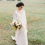 Graceful Bohemian Bride in a Beaded Lace Wedding Dress